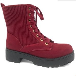 WINE RIBBED WILD ONE COMBAT platforms BOOTS SIZE 8